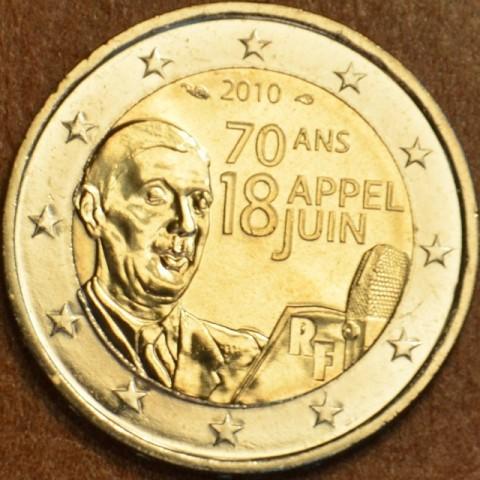 2 Euro Francúzsko 2010 - 70. výročie výzvy generála de Gaulla 18. júna (UNC)