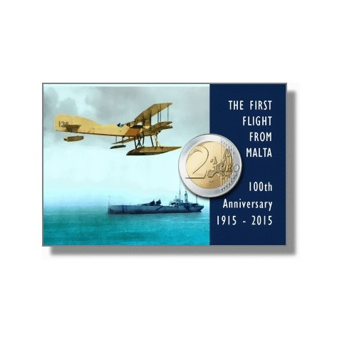 2 Euro Malta 2015 so značkou - Prvý let (BU karta)