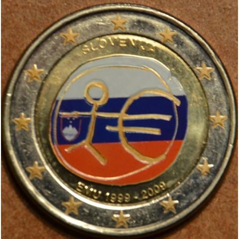 2 Euro Slovinsko 2009 - 10. výročie hospodárskej a menovej únie  (farebná UNC)
