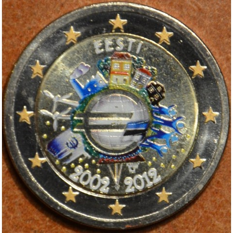 2 Euro Estónsko 2012 - 10. výročia vzniku Eura (farebná UNC)