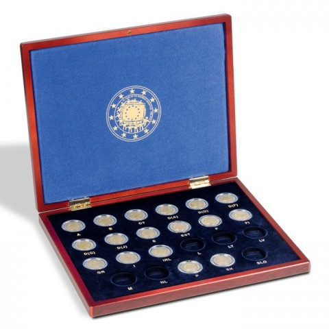 Drevená kazeta Leuchtturm Volterra na spoločné vydanie 2 Euro mincí z roku 2015 - 30 rokov EU vlajky