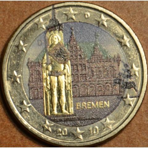 2 Euro Nemecko 2010 - Bremen: Brémska radnica s Rolandovou sochou II. (farebná UNC)
