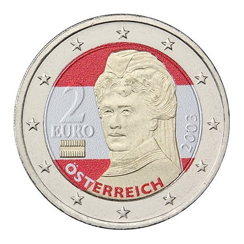 2 Euro Rakúsko - Bertha von Suttner  (farebná UNC)