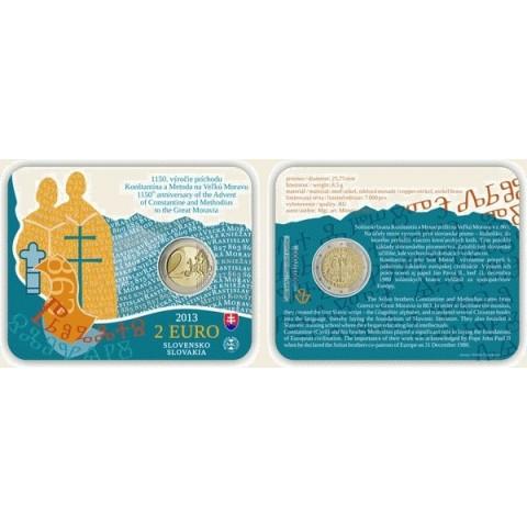 2 Euro Slovensko 2013 - Karta Príchod byzantskej misie sv. Cyrila a sv. Metoda na Veľkú Moravu - 1150. výročie (UNC)