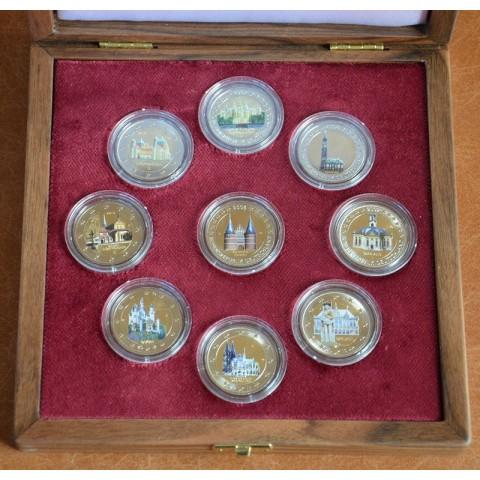 Nemecké pamäté 2 Euro mince 2006-2014 vo farbe v drevenej krabici