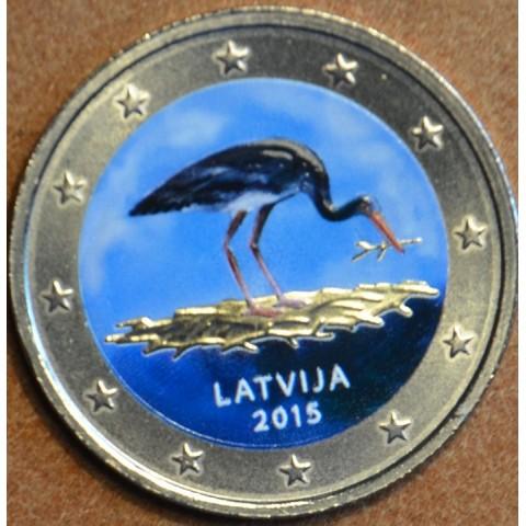 2 Euro Lotyšsko 2015 - Bocian čierny (farebná UNC)