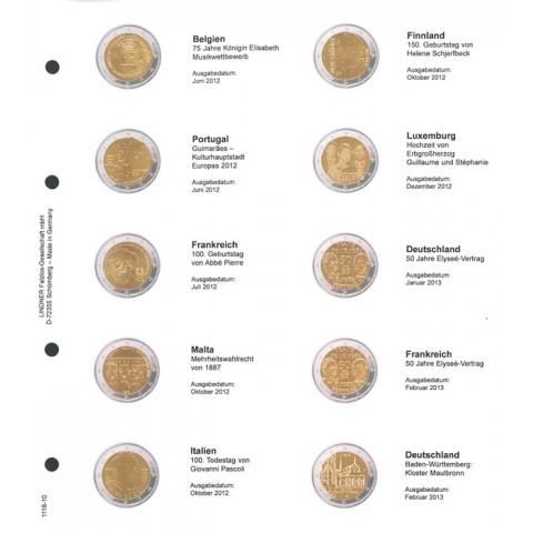 Lindner listy do albumu 2 Euro mincí strana 10. (Belgicko 2012 - Nemecko 2013)