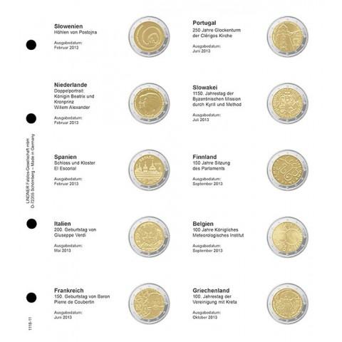 Lindner listy do albumu 2 Euro mincí strana 11. (Slovinsko 2013 - Grécko 2013)