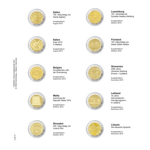 Lindner listy do albumu 2 Euro mincí strana 17. (Taliansko 2015 - Litva 2015)