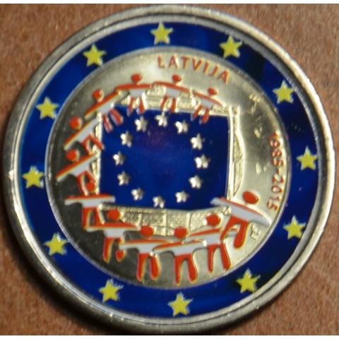 2 Euro Lotyšsko 2015 - 30 rokov Europskej vlajky II.  (farebná UNC)