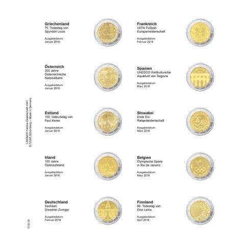 Lindner listy do albumu 2 Euro mincí strana 18. (Grécko 2015 - Fínsko 2016)