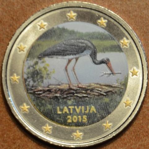 2 Euro Lotyšsko 2015 - Bocian čierny IV. (farebná UNC)