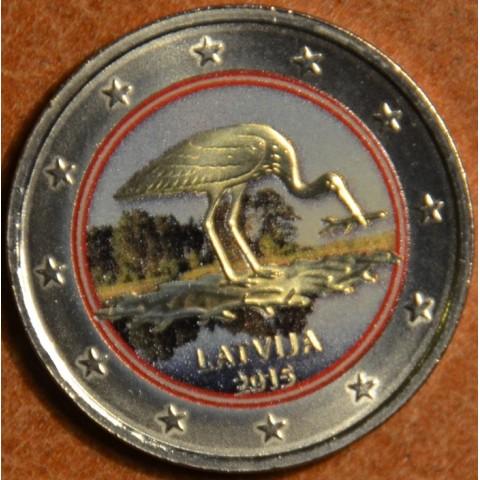 2 Euro Lotyšsko 2015 - Bocian čierny V. (farebná UNC)