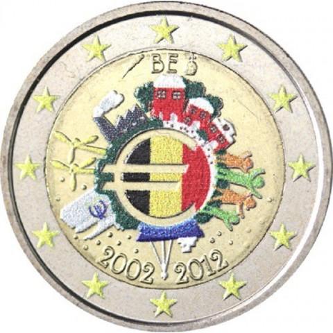 2 Euro Belgicko 2012 - 10. výročia vzniku Eura II. (farebná UNC)