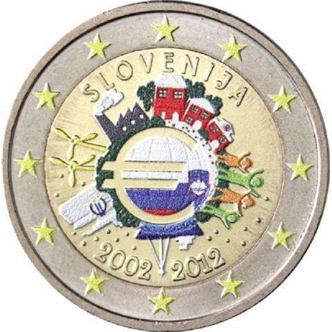 2 Euro Slovinsko 2012 - 10. výročia vzniku Eura II. (farebná UNC)