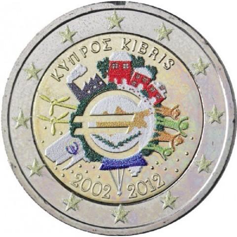 2 Euro Cyprus 2012 - 10. výročia vzniku Eura II. (farebná UNC)