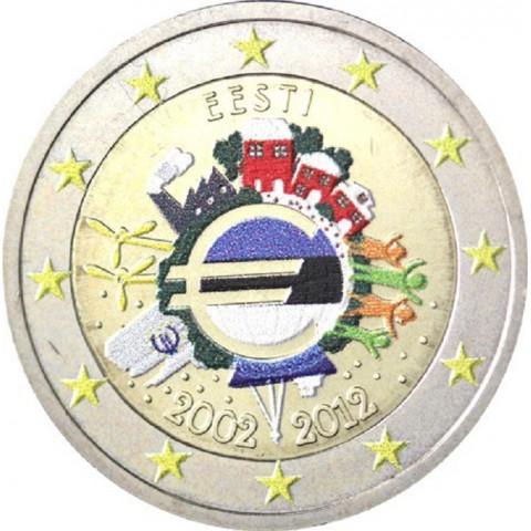 2 Euro Estónsko 2012 - 10. výročia vzniku Eura II. (farebná UNC)