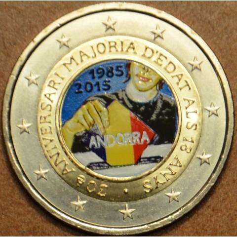 2 Euro Andorra 2015 - 30. výročie stanovenia veku plnoletosti (farebná UNC)