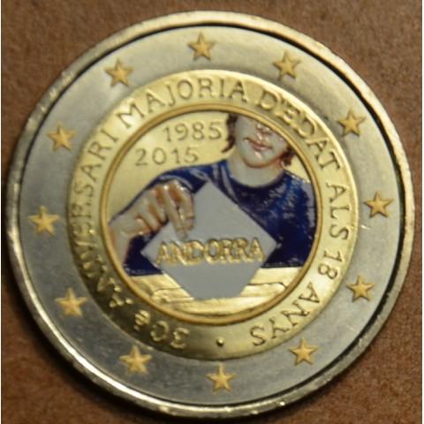 2 Euro Andorra 2015 - 30. výročie stanovenia veku plnoletosti III. (farebná UNC)