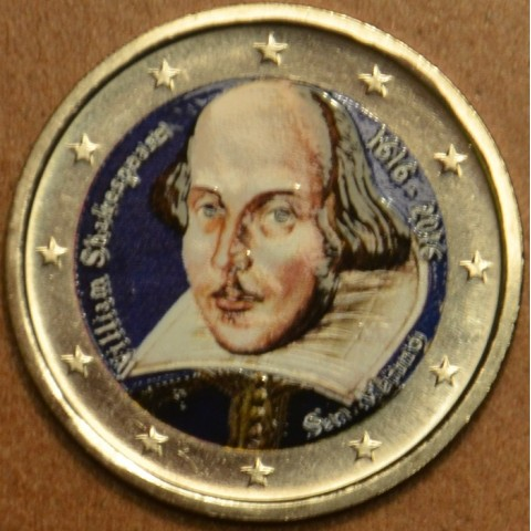 2 Euro San Marino 2016 - 400. výročie úmrtia Williama Shakespeara (farebná UNC)