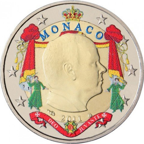 2 Euro Monaco 2011 Albert (farebná UNC)