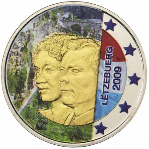 2 Euro Luxembursko 2009 - 90. výročie nastúpenia veľkovojvodkyňa Charlotte na trón II. (farebná UNC)