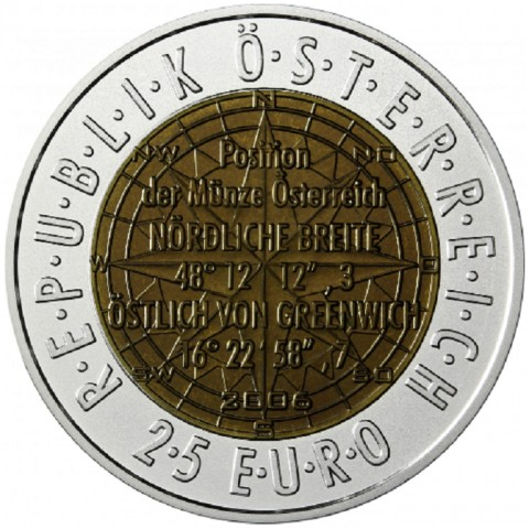 25 Euro Rakúsko 2006 - Satelitná navigácia (Niob)