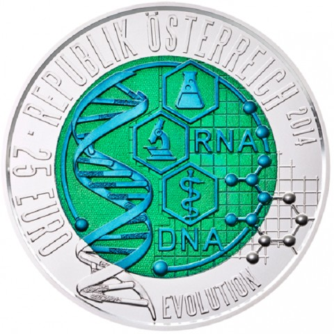 25 Euro Rakúsko 2014 - strieborná niobium minca Evolúcia (Proof)