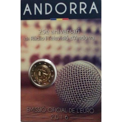 2 Euro Andorra 2016 - 25 rokov TV a radia (BU karta)