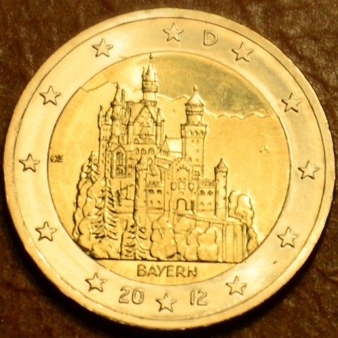 """2 Euro Nemecko """"A"""" 2012 - Bavorsko: Neuschwanstein (UNC)"""