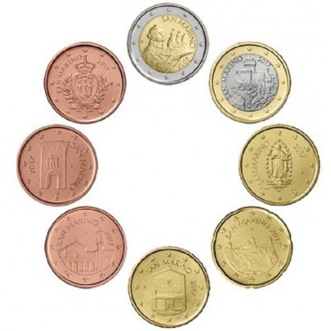 Set of 8 eurocoins San Marino 2017 (UNC)