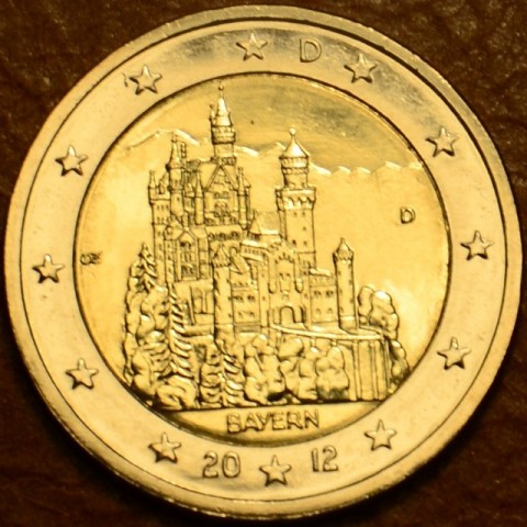 """2 Euro Nemecko """"D"""" 2012 - Bavorsko: Neuschwanstein (UNC)"""