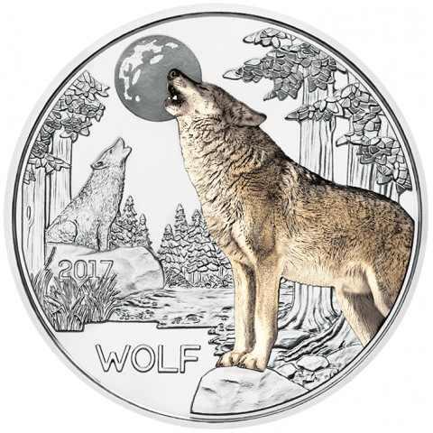 3 Euro Rakúsko 2017 - Vlk (UNC)