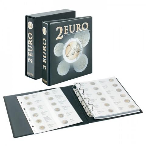 Lindner PUBLICA album for 2 Euro coins with slipcase