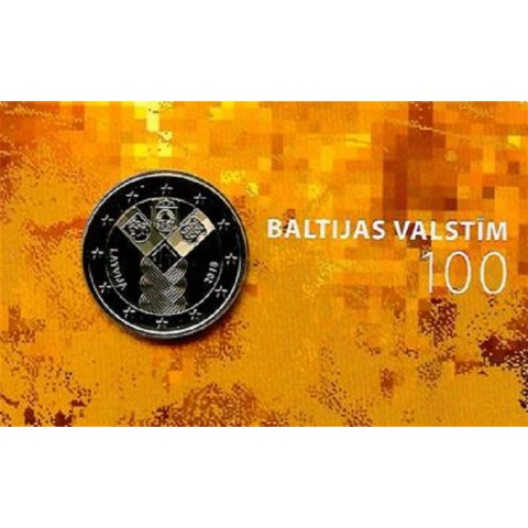 2 Euro Lotyšsko 2018 - 100 rokov nezávislosti pobaltských krajín (BU karta)