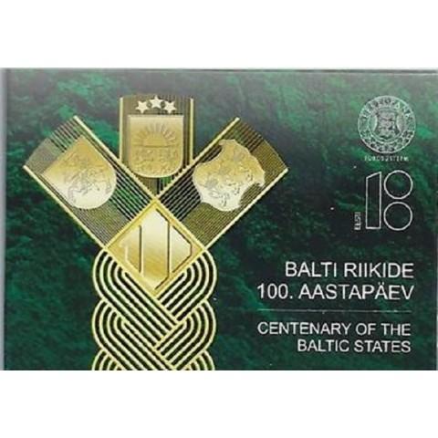 2 Euro Estónsko 2018 - 100 rokov nezávislosti pobaltských krajín (BU karta)
