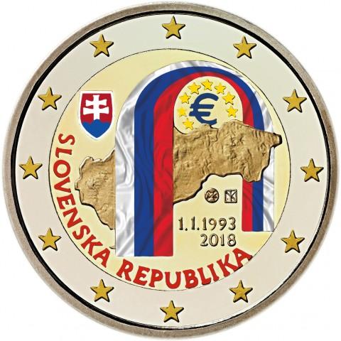 2 Euro Slovakia 2018 - 25 year of Slovak Republic (colored UNC)