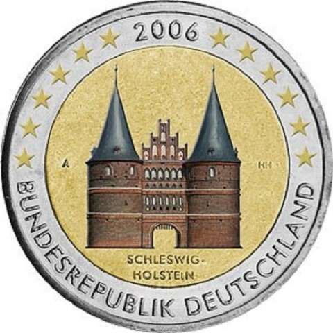 "2 Euro Nemecko ""G"" 2006 - Holstentor v Lübecku / Schleswig-Holstein (farebné UNC)"