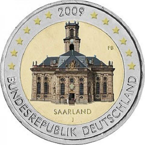 """2 Euro Nemecko """"J"""" 2009 - Sársko: Kostol Ludwigskirche (UNC)"""