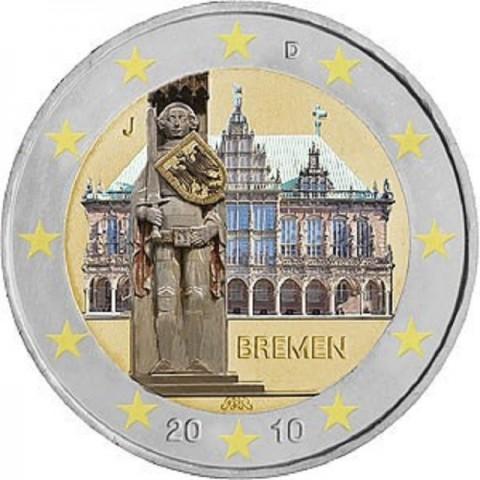 "2 Euro Nemecko ""J"" 2010 - Bremen: Brémska radnica s Rolandovou sochou (UNC)"