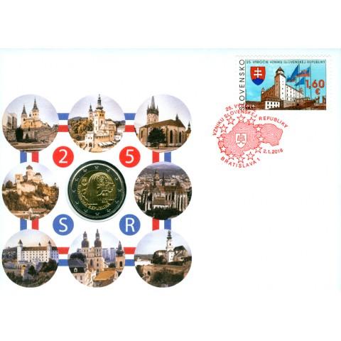 2 Euro Slovensko 2018 - 25. výročie vzniku numizmatická obálka (UNC)