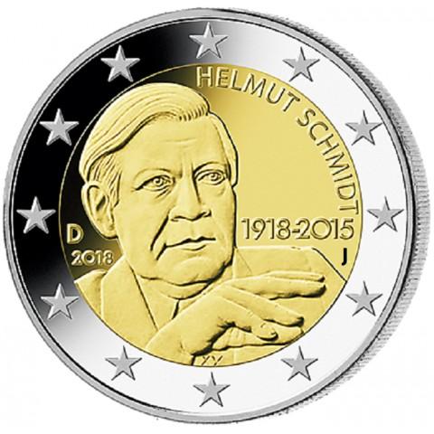 """Predpredaj 2 Euro Nemecko """"J"""" 2018 - Helmut Schmidt (UNC)"""