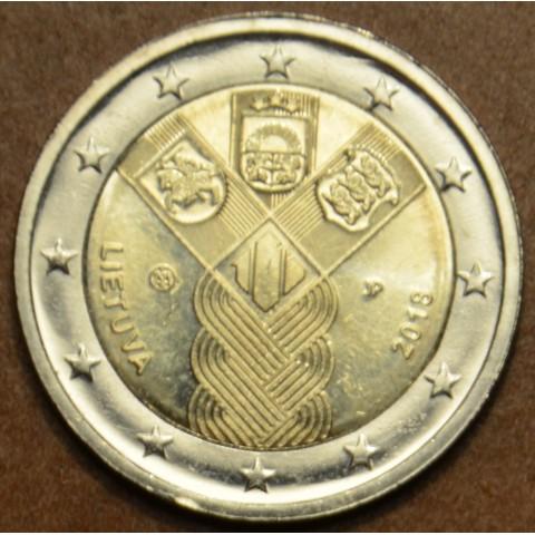 Poškodená 2 Euro Litva 2018 - 100 rokov nezávislosti pobaltských krajín (UNC)