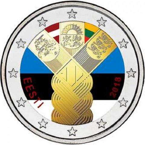 2 Euro Estónsko 2018 - 100 rokov nezávislosti pobaltských krajín (farebná UNC)