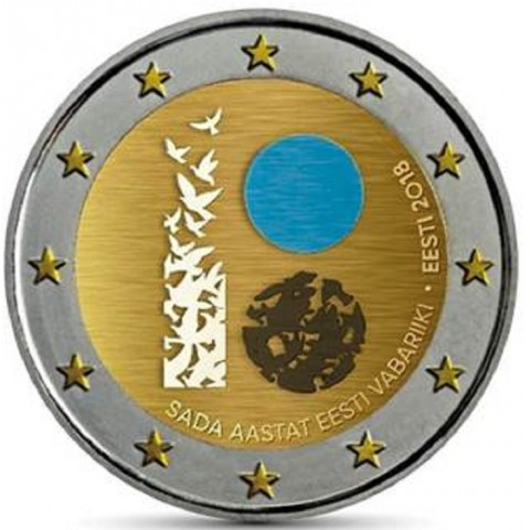 2 Euro Estónsko 2018 - Sté výročie nezávislosti Estónska (farebná UNC)