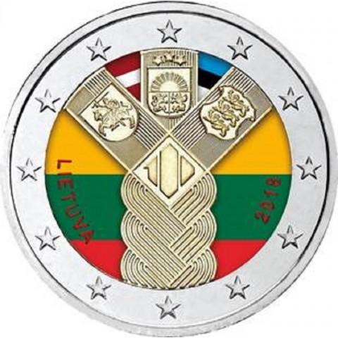 2 Euro Litva 2018 - 100 rokov nezávislosti pobaltských krajín (farebná UNC)