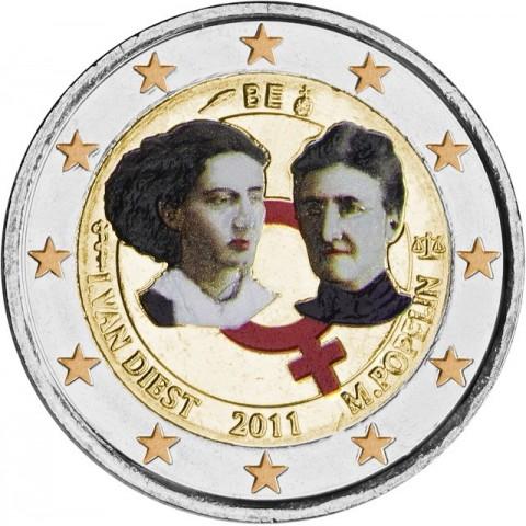 2 Euro Belgicko 2011 - 100. výročie MDŽ  (UNC farebná)