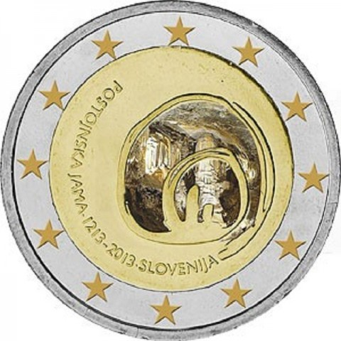 2 Euro Slovinsko 2013 - 800 rokov od objavenia Postojnskej jaskyne (UNC)